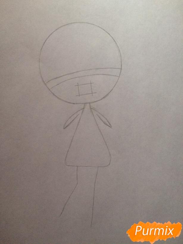 Рисуем тян c ушками в стиле чиби карандашами - шаг 2