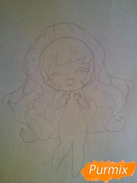 Рисуем тян c ушками в стиле чиби карандашами - шаг 4