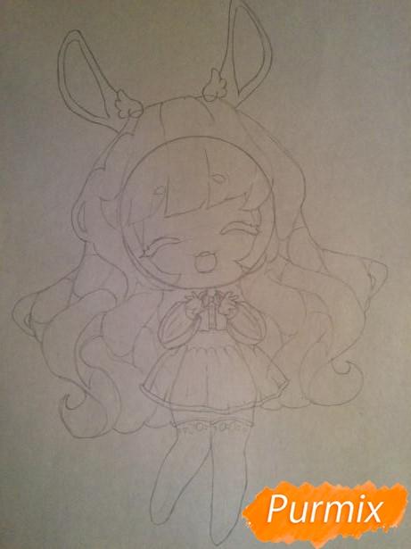 Рисуем тян c ушками в стиле чиби карандашами - шаг 5