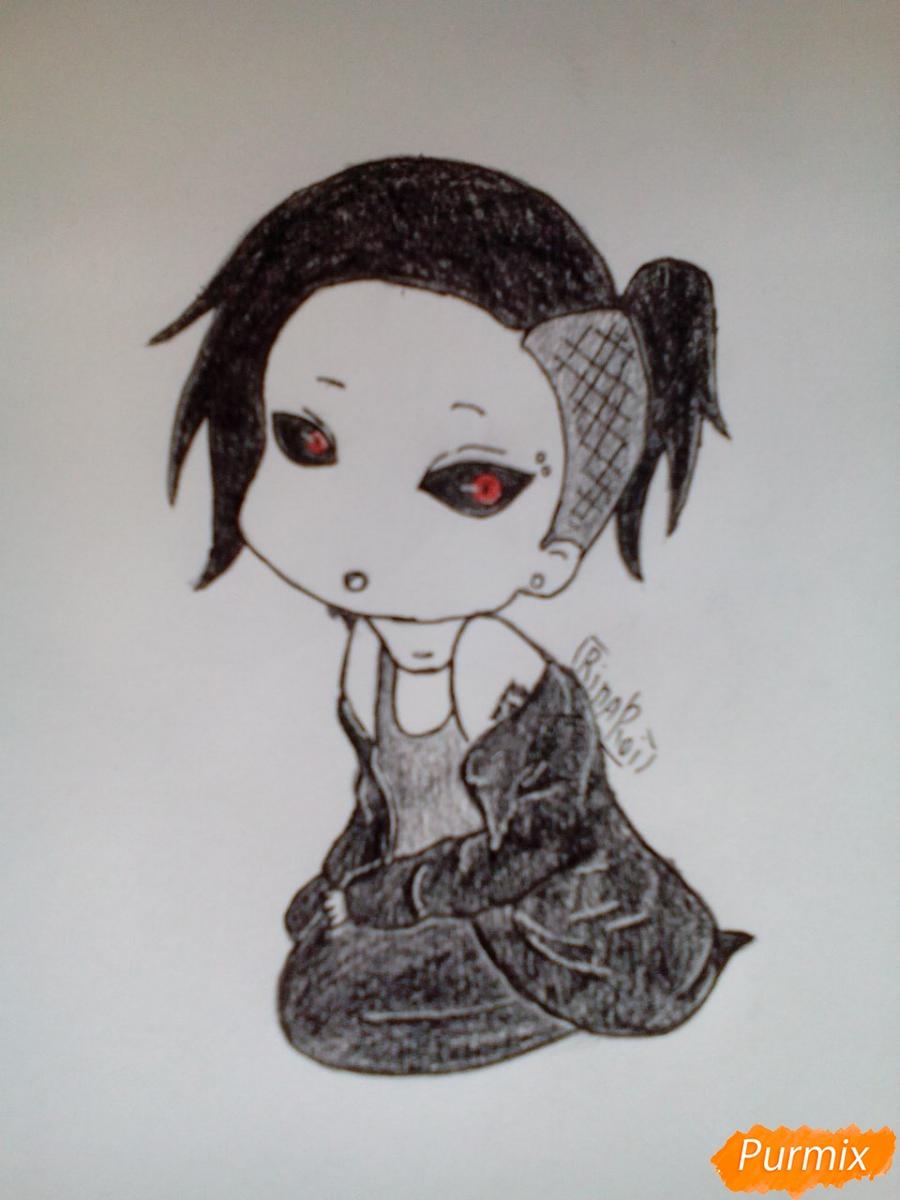 Как нарисовать Уту в стиле чиби из аниме Токийский гуль карандашами поэтапно