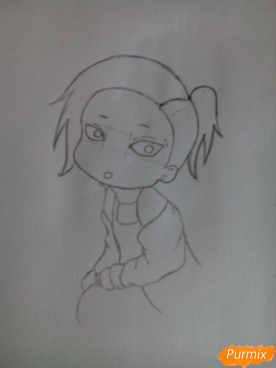 Рисуем Уту в стиле чиби из аниме Токийский гуль карандашами - шаг 5