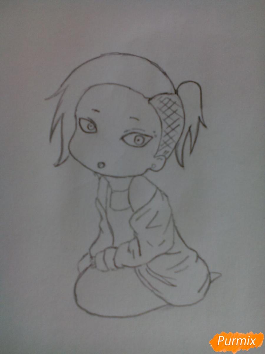 Рисуем Уту в стиле чиби из аниме Токийский гуль карандашами - шаг 6