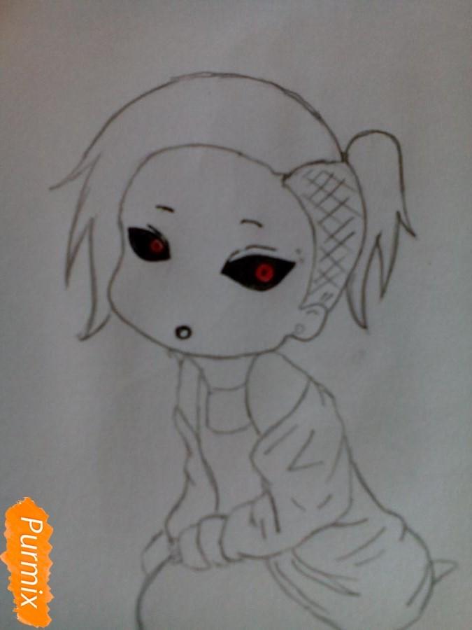 Рисуем Уту в стиле чиби из аниме Токийский гуль карандашами - шаг 7