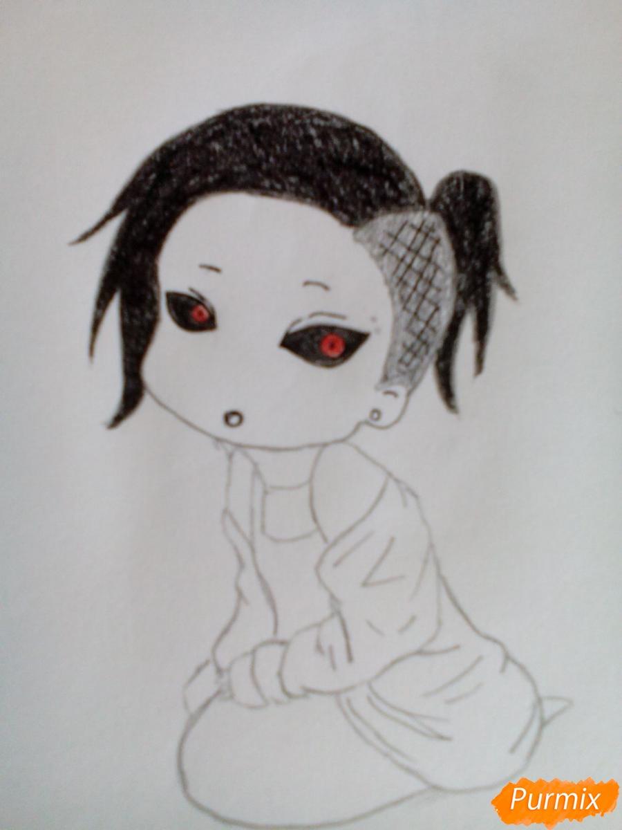 Рисуем Уту в стиле чиби из аниме Токийский гуль карандашами - шаг 8