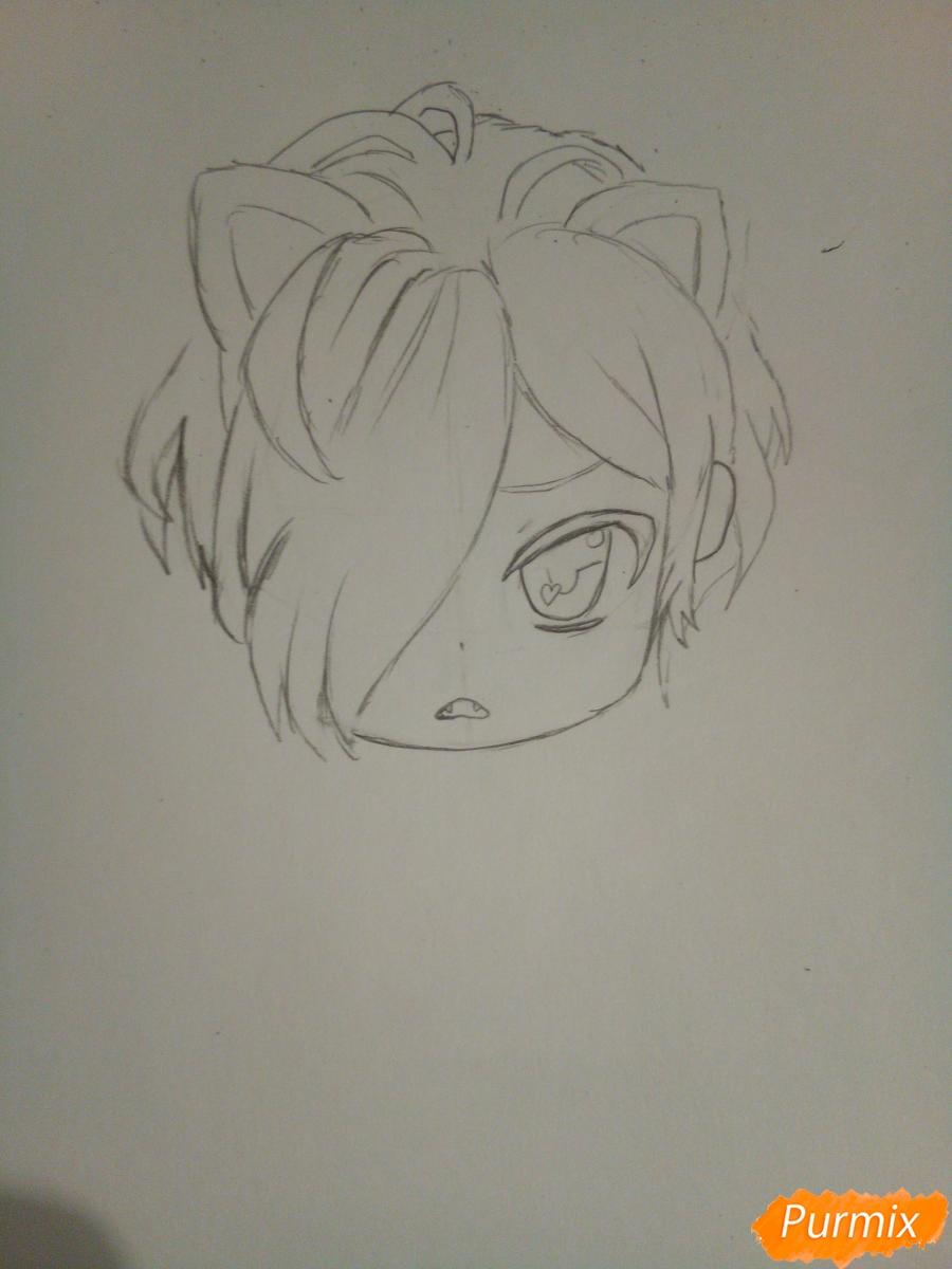 Рисуем в стиле чиби Субару Сакамаки - шаг 3