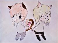 Рисунок влюбленную чиби пару