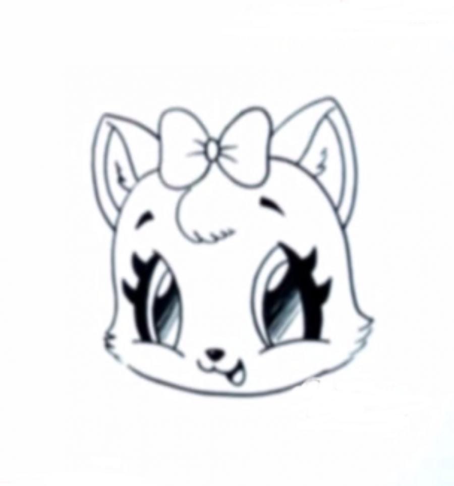 Как изобразить на бумаге голову котенка в стиле чиби