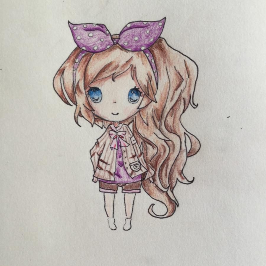 Рисуем чиби - девочку с бантиком - шаг 6