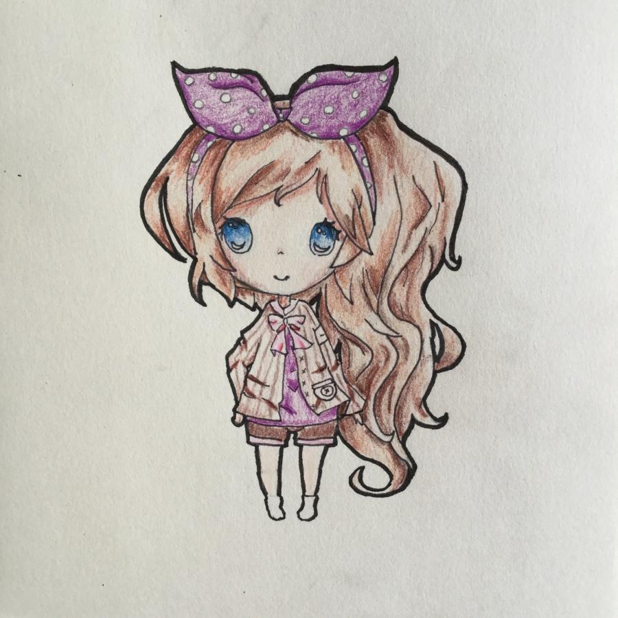 Как нарисовать чиби - девочку с бантиком карандашом поэтапно