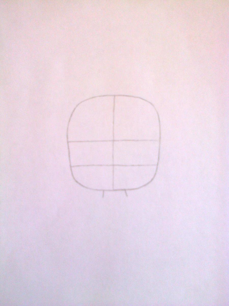 Рисуем чиби-девочку в костюме панды простыми карандашами - шаг 1