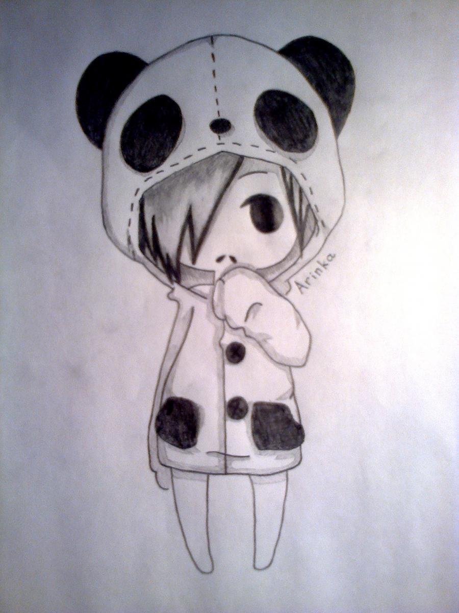 Как нарисовать чиби-девочку в костюме панды простыми карандашами