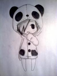 Рисунок чиби-девочку в костюме панды