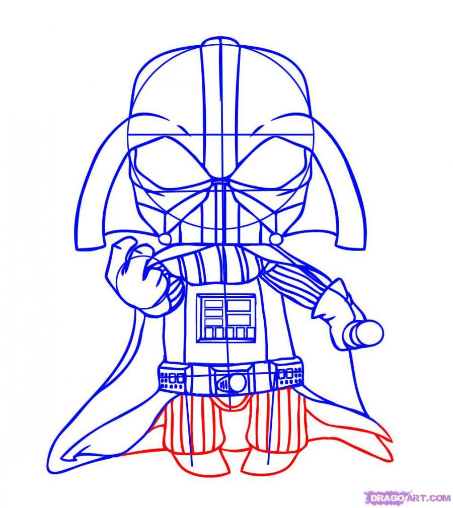 Как нарисовать чиби Дарт Вейдера карандашом поэтапно