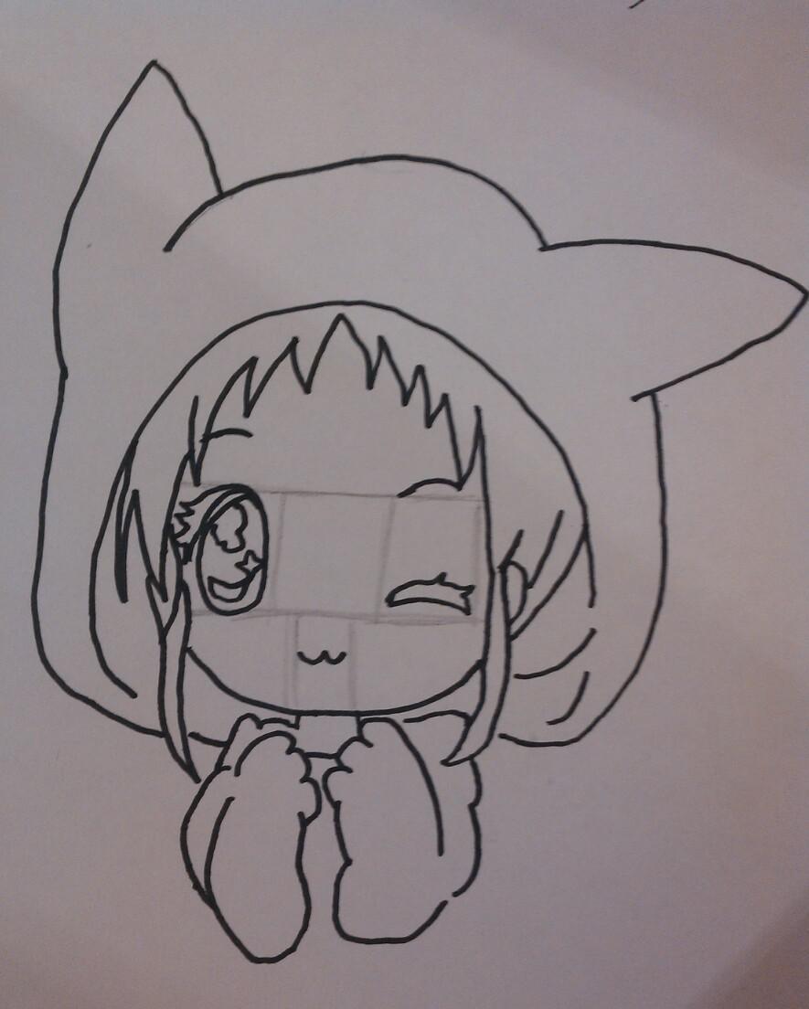 Рисуем чиби девочку в костюме пикачу - шаг 3