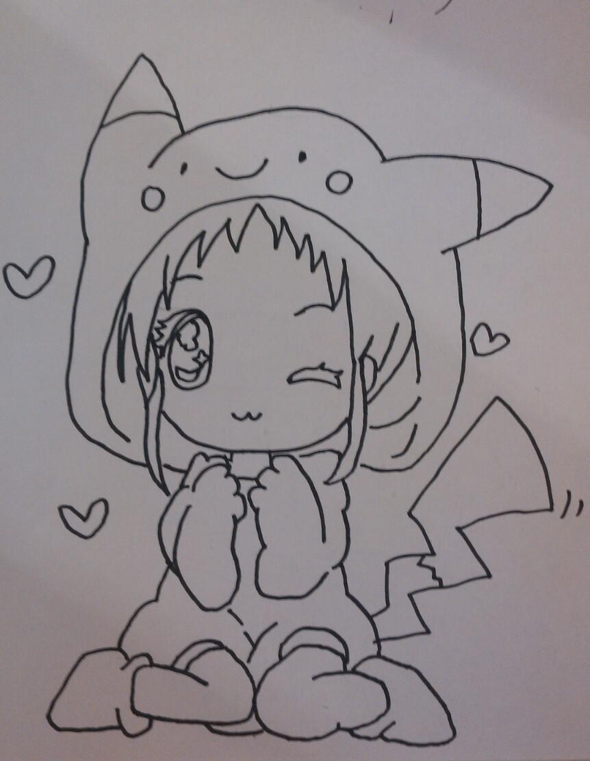 Рисуем чиби девочку в костюме пикачу - шаг 4