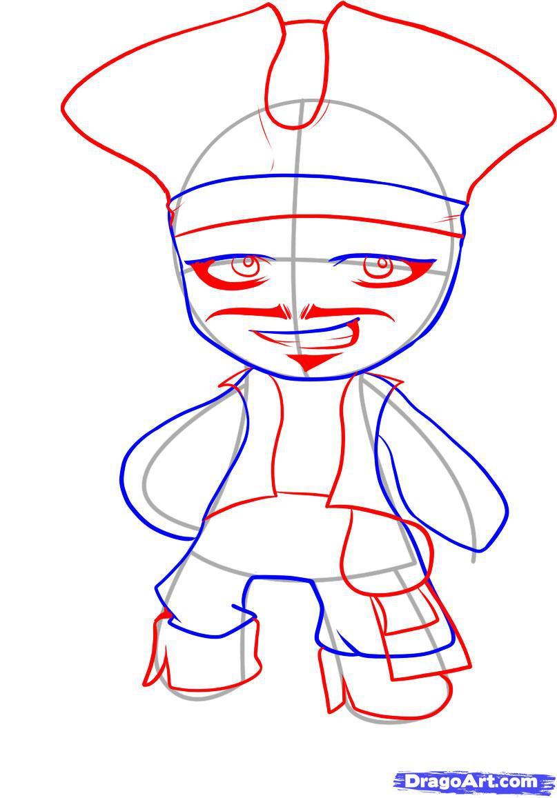 Как нарисовать чиби Джека Воробья карандашом поэтапно