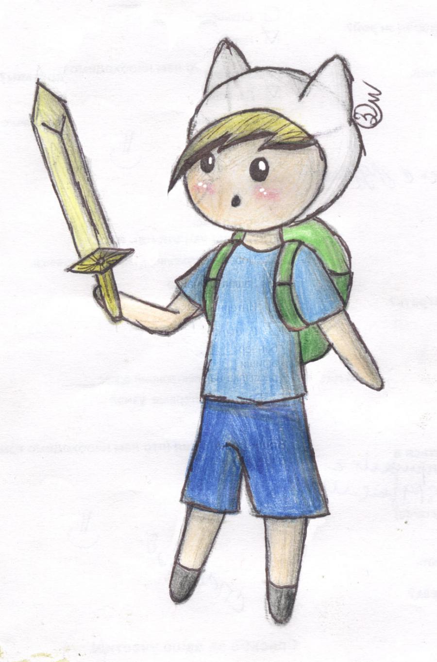 Как нарисовать чиби Финна из мультфильма Время приключений карандашами поэтапно