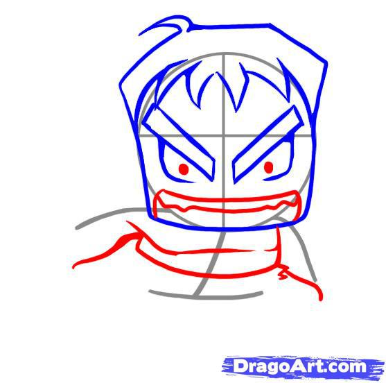 Как нарисовать чиби Халка карандашом на бумаге поэтапно