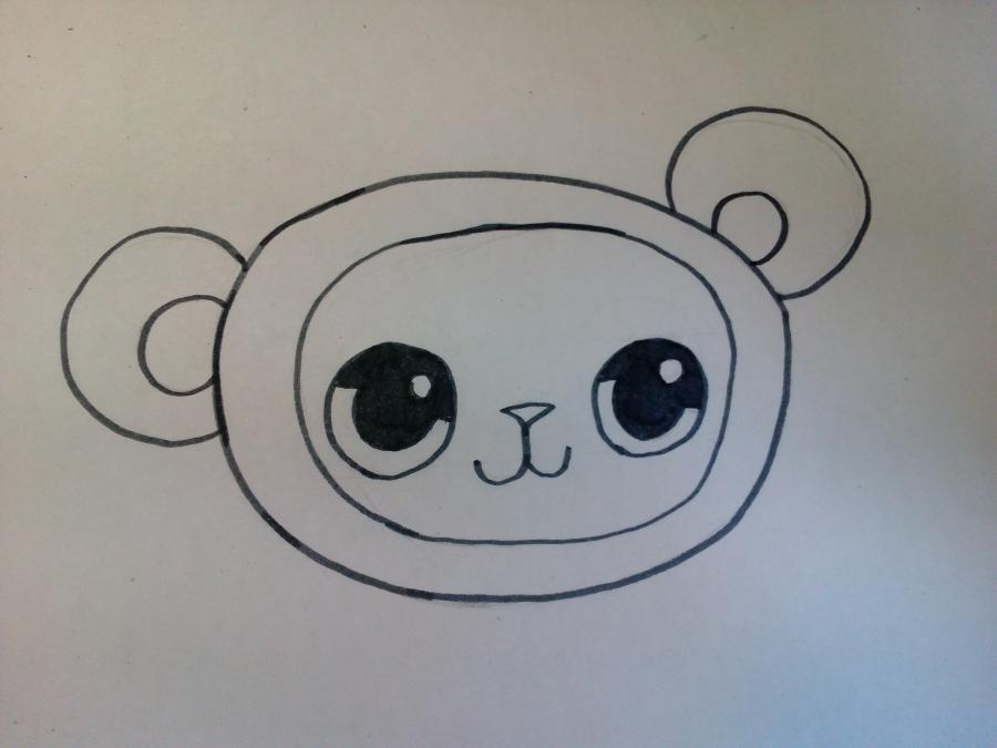 Рисуем милого чиби котенка в костюме панды - шаг 2