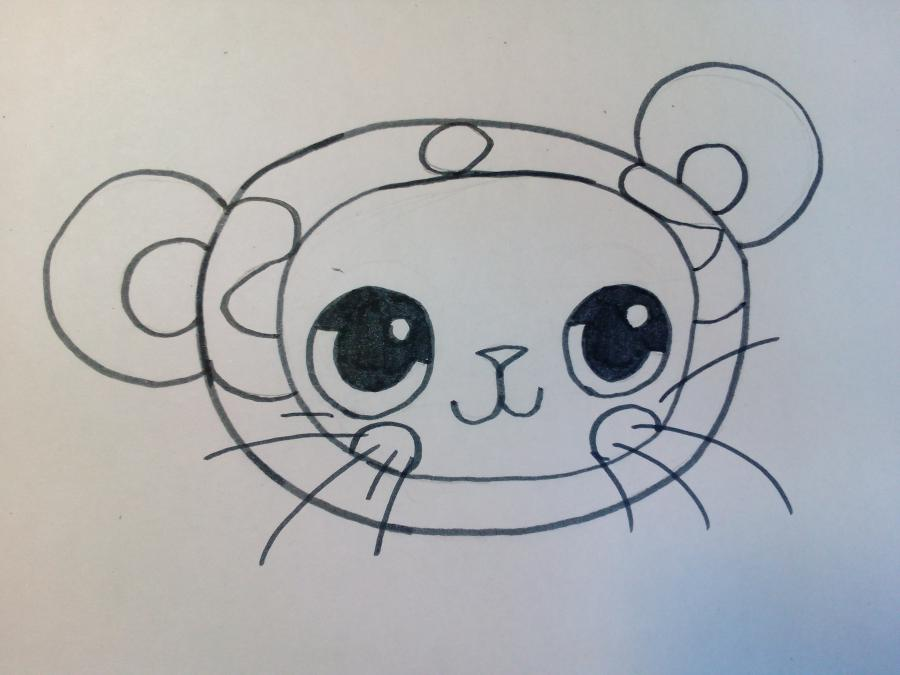 Рисуем чиби котенка в костюме панды - шаг 3