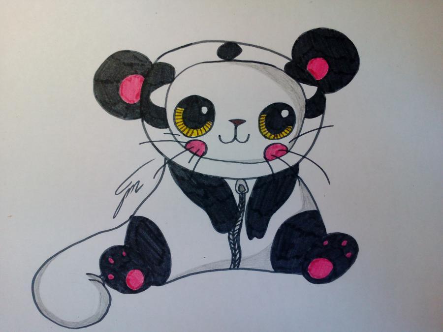 Как нарисовать милого чиби котенка в костюме панды поэтапно
