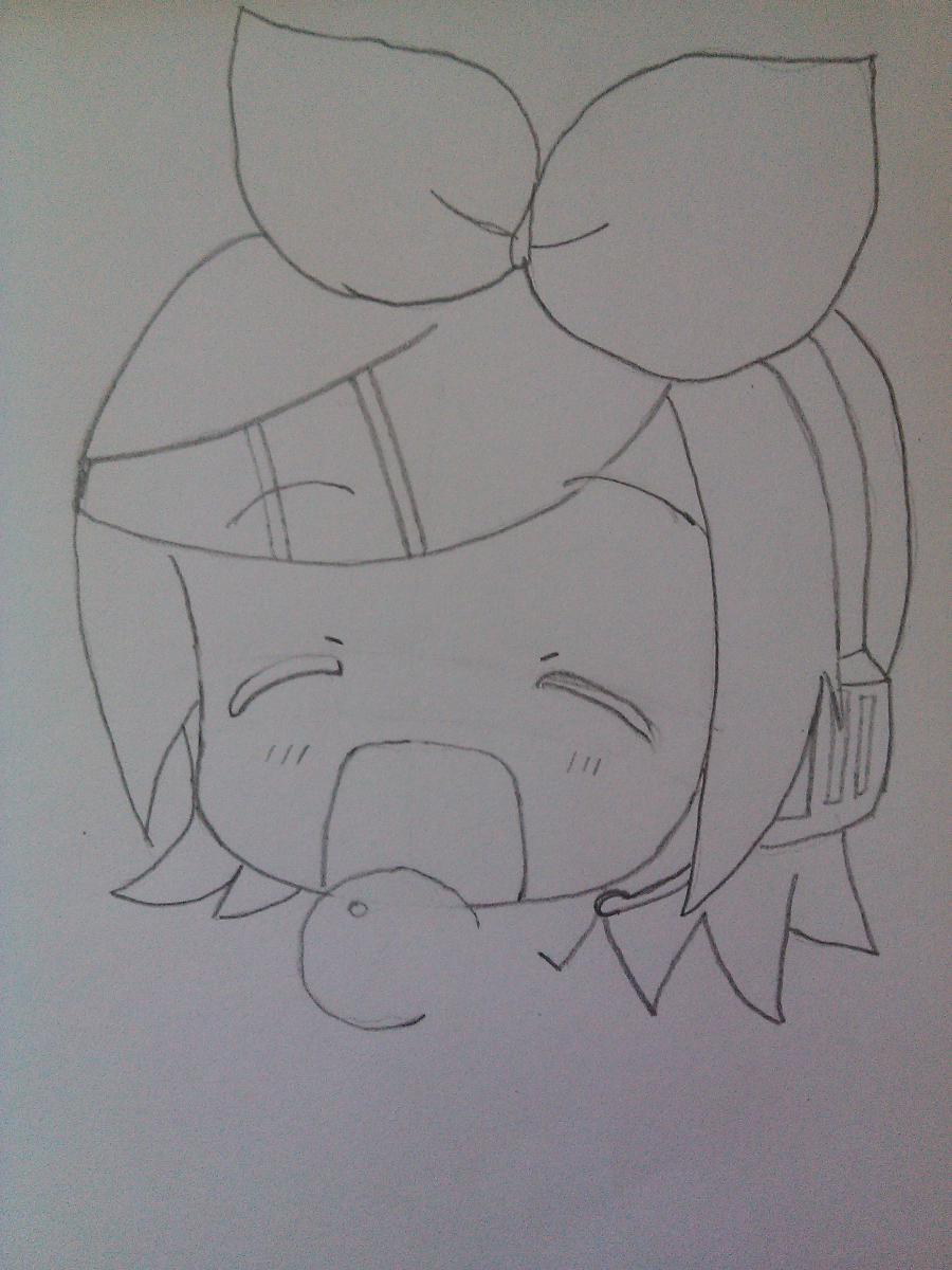 Рисуем Рин Кагамине в стиле чиби простым - шаг 3