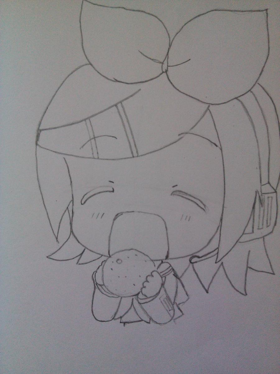 Рисуем Рин Кагамине в стиле чиби простым - шаг 4