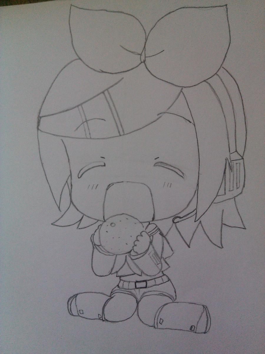 Рисуем Рин Кагамине в стиле чиби простым - шаг 5