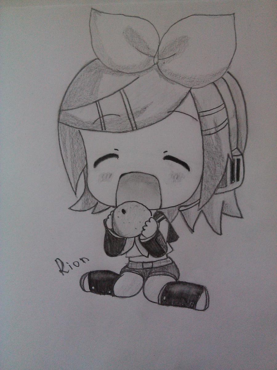 Как нарисовать Рин Кагамине в стиле чиби простым карандашом