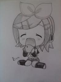 Как нарисовать чиби Рин Кагамине простым карандашом