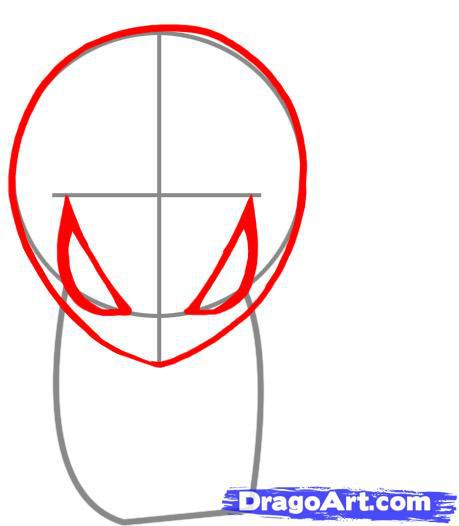Рисуем чиби спайдермена - шаг 2