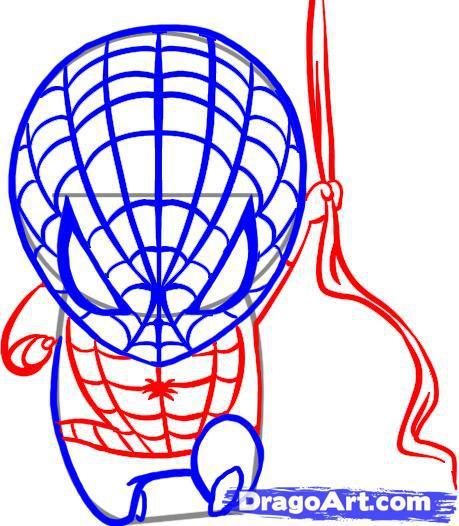Рисуем чиби спайдермена - шаг 5
