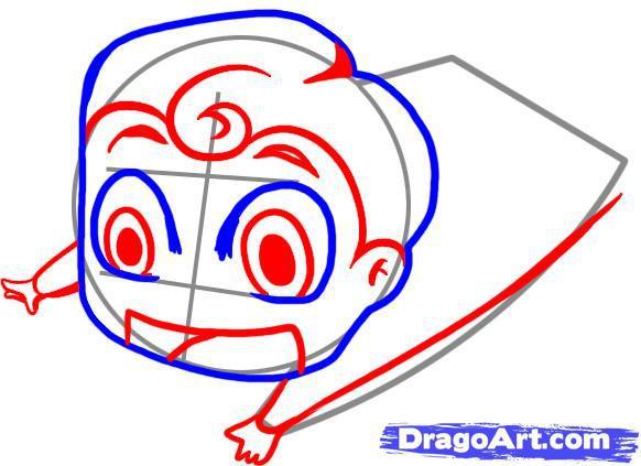 Рисуем чиби Супермена - шаг 3