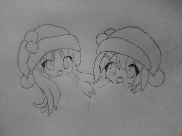 Рисуем чиби девушек в новогодней одежде карандашами - шаг 3