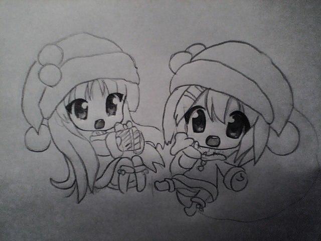 Рисуем чиби девушек в новогодней одежде карандашами - шаг 5