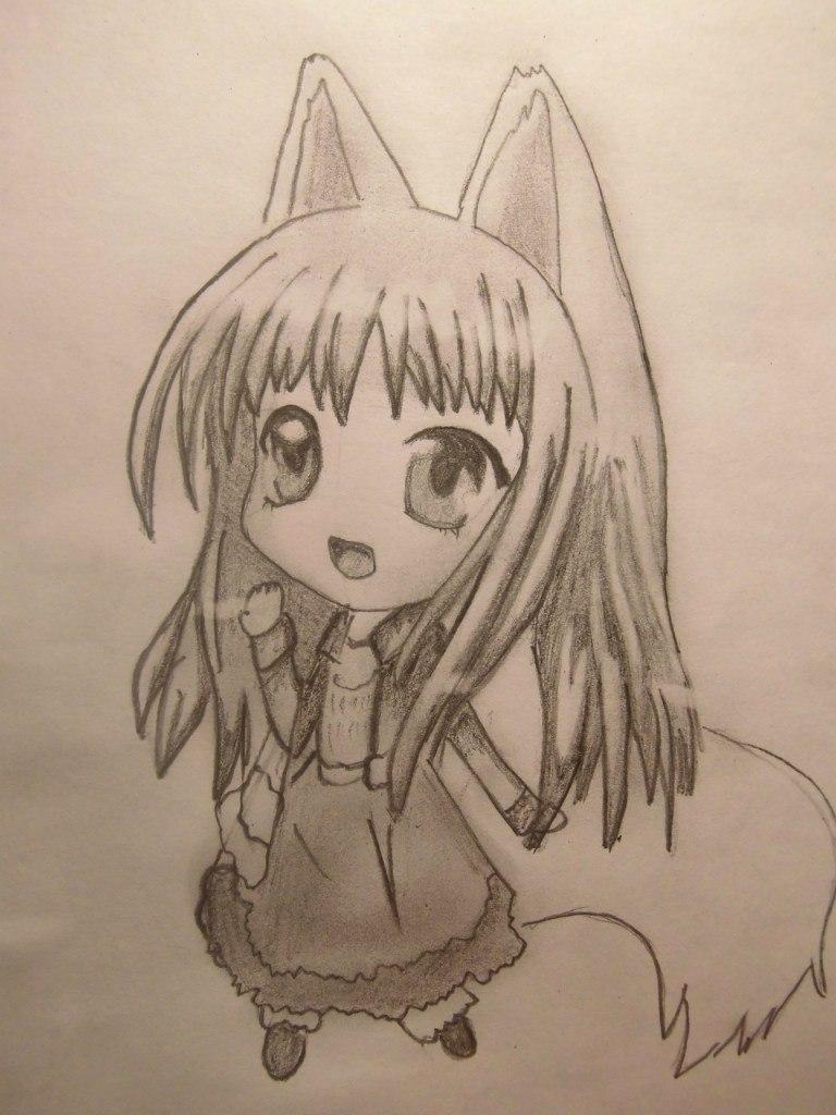 Как нарисовать чиби волчицу карандашом поэтапно