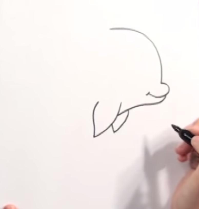 Как нарисовать дельфинчика в стиле чиби простым карандашом шаг за шагом