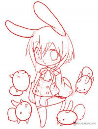 девочку-кролика в стиле Чиби карандашом