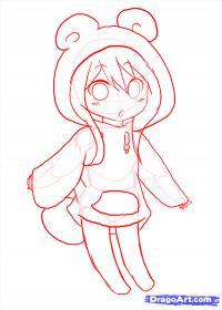 девочку в костюме панды в стиле Чиби карандашом