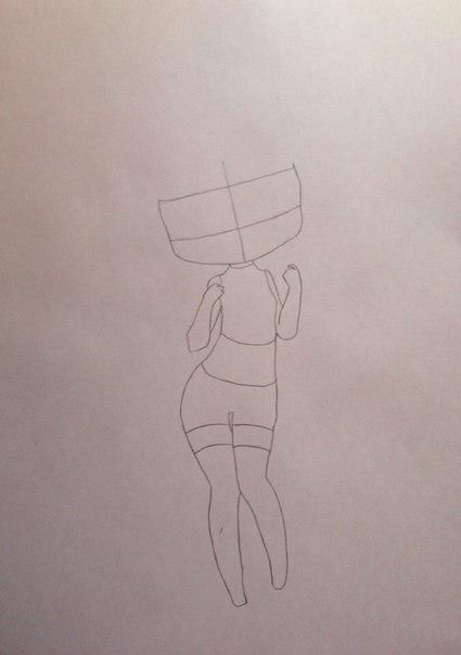 Рисуем девушку кошку в стиле чиби - шаг 2