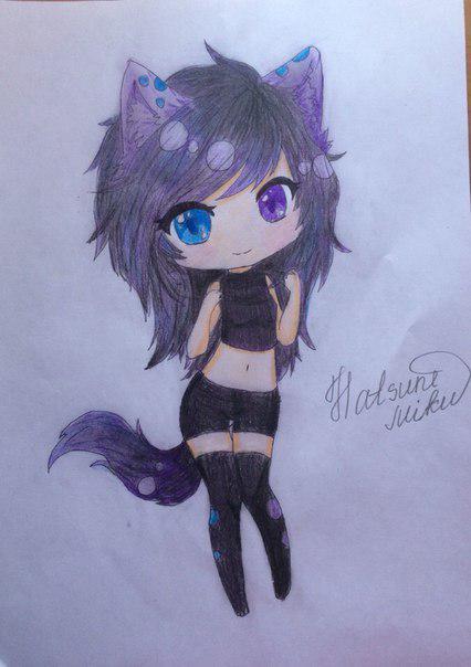 Как нарисовать девушку кошку в стиле чиби поэтапно