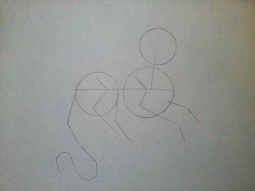 Рисуем дракона в стиле чиби карандашами и ручкой - шаг 1