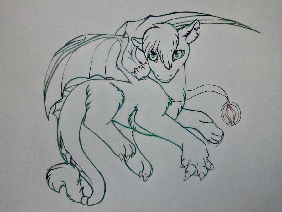 Рисуем дракона в стиле чиби карандашами и ручкой - шаг 11