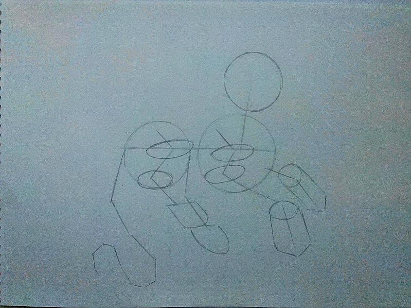 Рисуем дракона в стиле чиби карандашами и ручкой - шаг 2