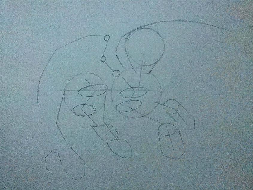 Рисуем дракона в стиле чиби карандашами и ручкой - шаг 3
