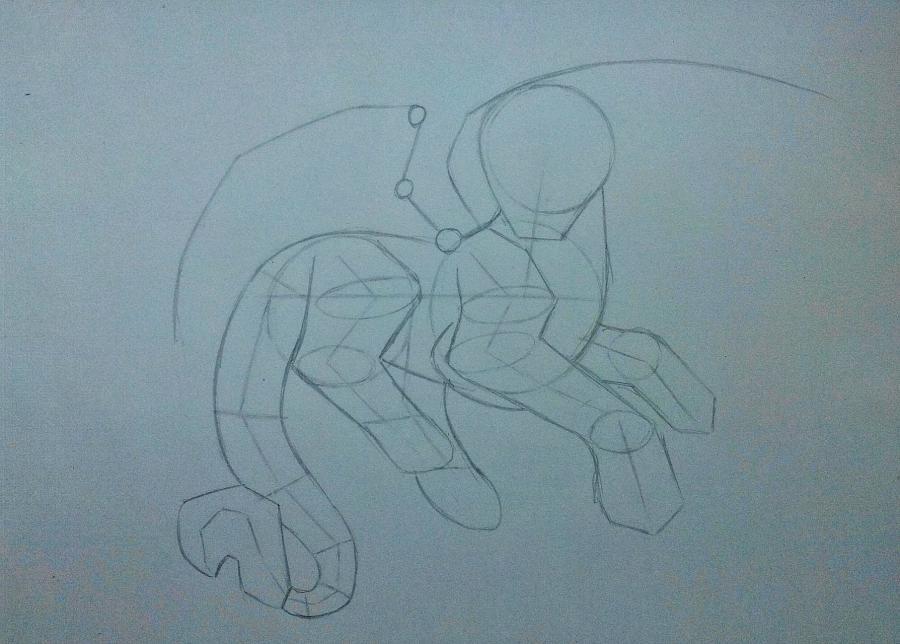 Рисуем дракона в стиле чиби карандашами и ручкой - шаг 5