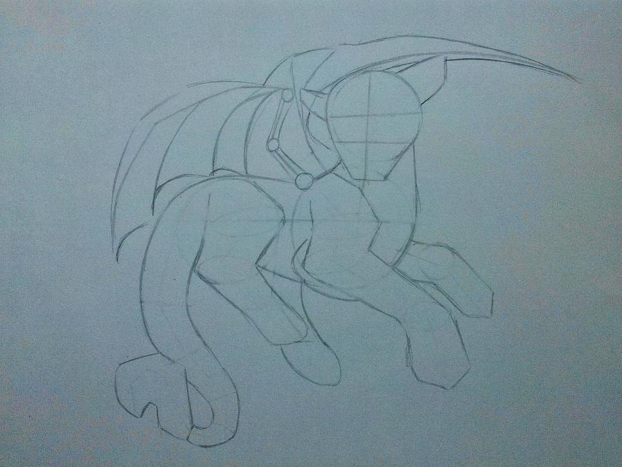 Рисуем дракона в стиле чиби карандашами и ручкой - шаг 6
