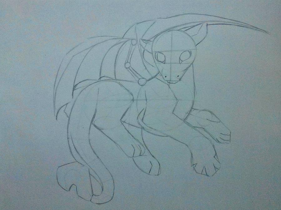 Рисуем дракона в стиле чиби карандашами и ручкой - шаг 7
