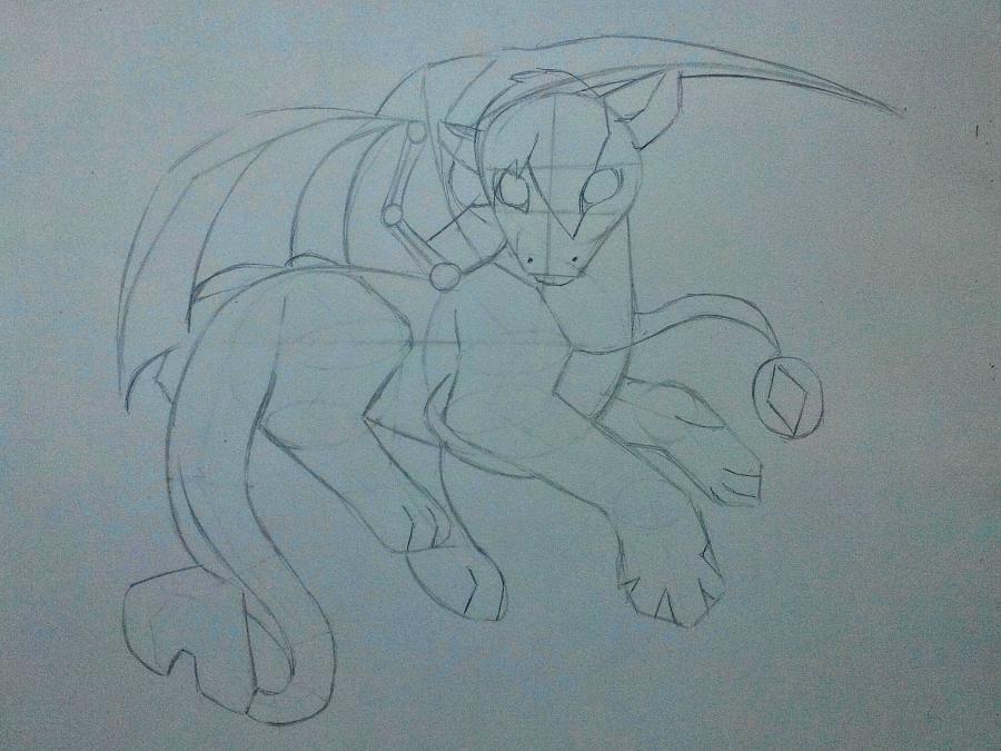 Рисуем дракона в стиле чиби карандашами и ручкой - шаг 8