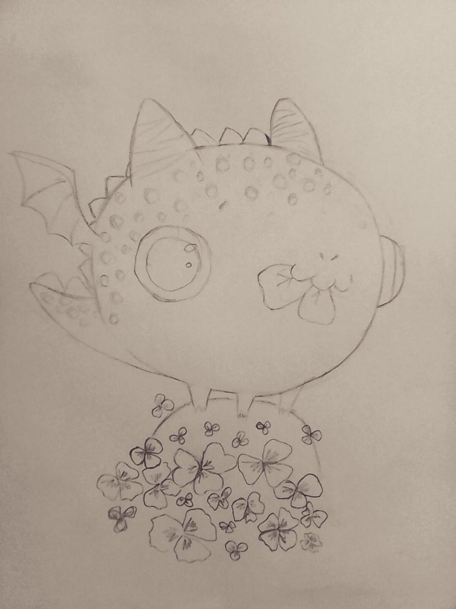 Рисуем дракончика с клевером - шаг 7